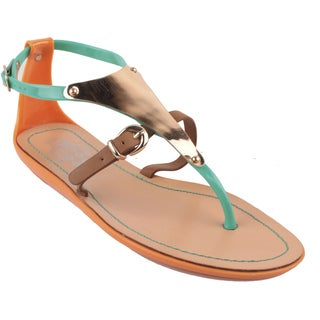 Jacobies by Beston Women's 'Jelly-1' Gladiator Metal Plate Sandals