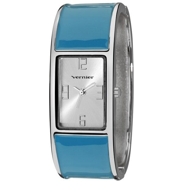Vernier Women's Colorful Block Blue Bangle Fashion Watch