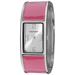 Vernier Ladies Colorful Block Pink Bangle Fashion Watch