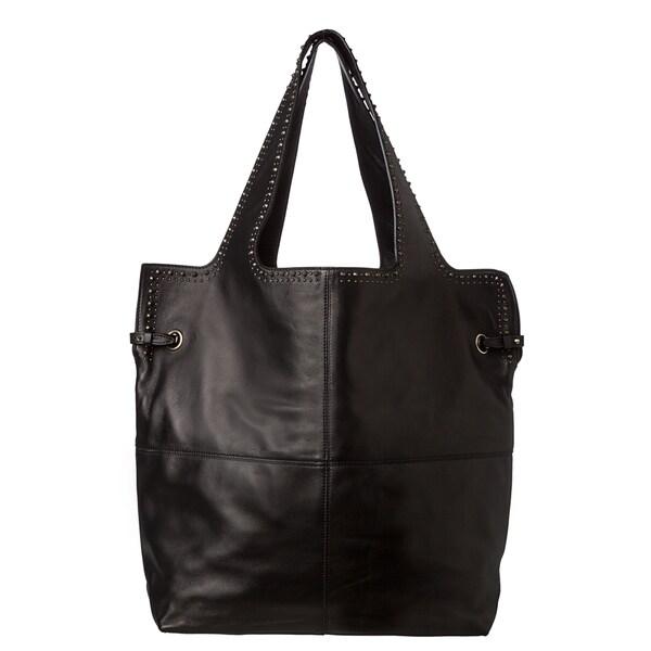 Givenchy 'George V' Black Lambskin Leather Studded Shopper Bag