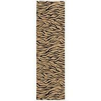 Cosmopolitan Beige Tiger Print Runner Rug - 2'3 x 8'