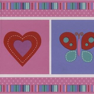 Brewster Pink Children's Picture Border Wallpaper
