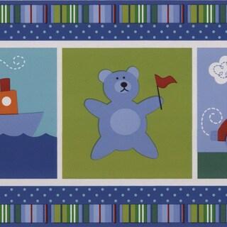 Brewster Blue Children's Picture Border Wallpaper