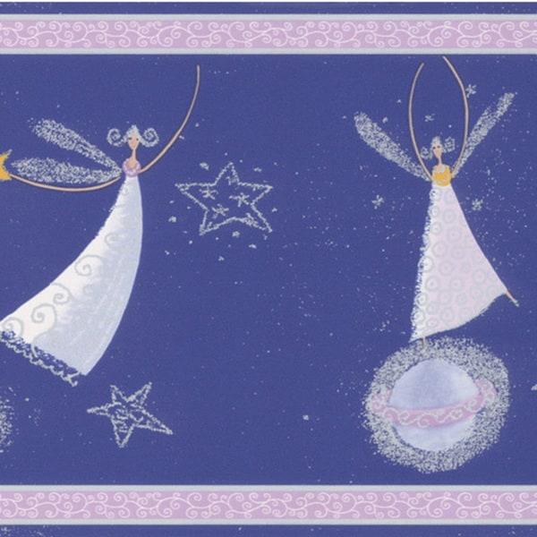 Brewster Dark Blue Celestial Fairy Border Wallpaper