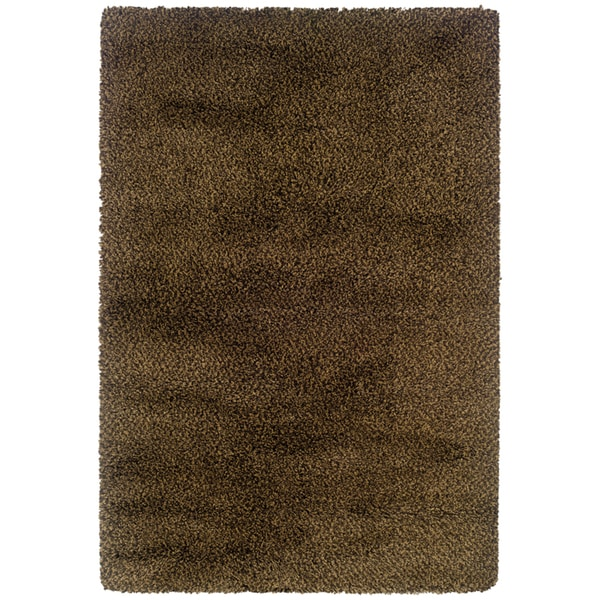 Brown and Gold Shag Area Rug - 9'10 x 12'7