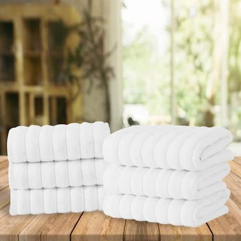 """Classic White Ribbed Combed Turkish Cotton Hand Towel Set of 6 - 33"""" L x 20"""" W"""