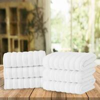 Classic Turkish Towel Ribbed Combed Cotton Hand Towel Set (Set of 6)