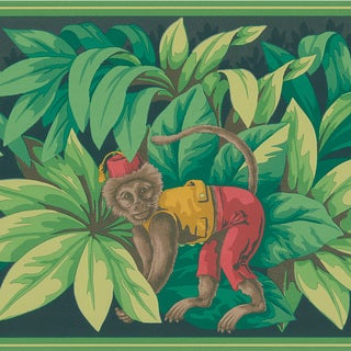 Brewster Red Monkey Border Wallpaper