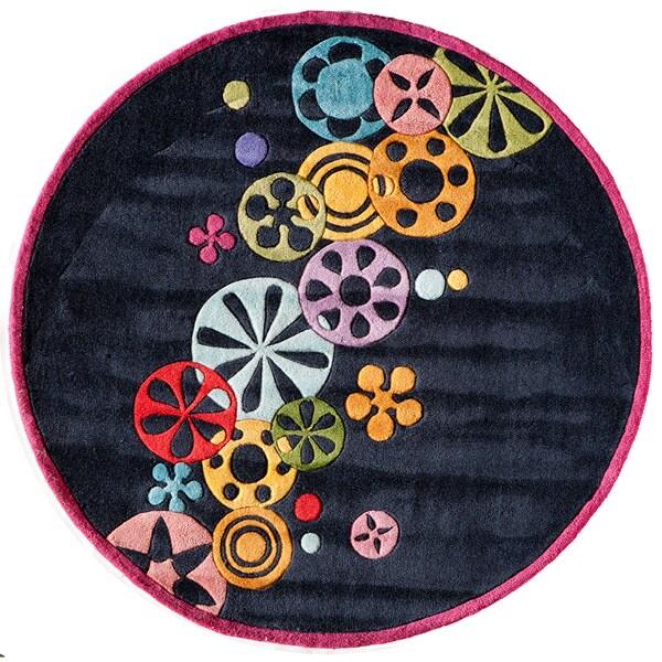 Momeni 'Lil Mo Hipster Black Pinwheel Rug (5' Round)