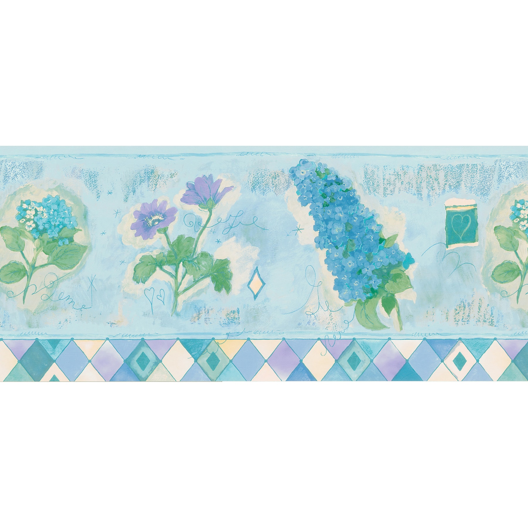 Shop Brewster Light Blue Watercolor Floral Wallpaper Border