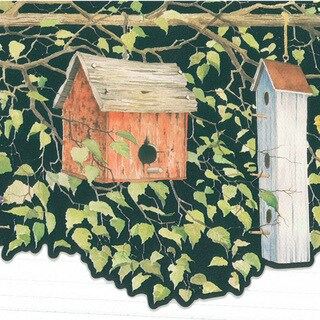 Brewster Black Birdhouse Border Wallpaper