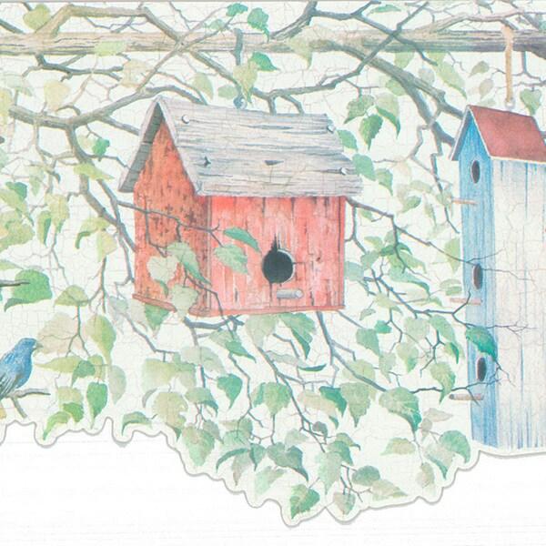 Brewster Green Birdhouse Border Wallpaper