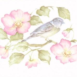Brewster Lavender Wild Rose Bird Border Wallpaper