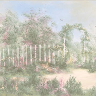 Brewster Pastel Garden Border Wallpaper