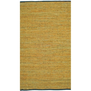 Hand-woven Matador Gold Leather Rug (9' x 12')