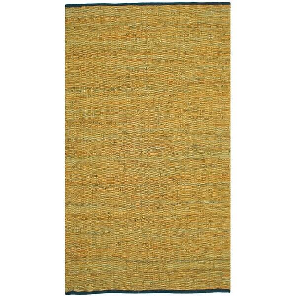 Hand-woven Matador Gold Leather Rug (9' x 12')
