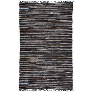 Hand-woven Matador Brown Leather Rug (9' x 12')