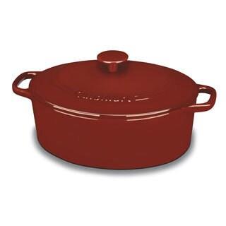 Cuisinart Red Perpchefs 5.5-quart Oval CVD Classic Enameled Cast Iron Casserole Cookware
