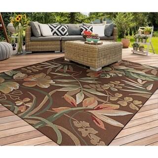 """Miami Tropical Flowers Brown Indoor/Outdoor Area Rug - 3'6"""" x 5'6"""""""
