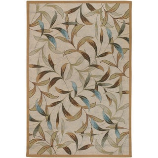 Hand-hooked Covington Spring Vista Neutrals/ Blue Indoor/ Outdoor Rug (5'6 x 8')