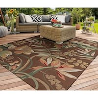 """Miami Tropical Flowers Brown Indoor/Outdoor Area Rug - 5'6"""" x 8'"""