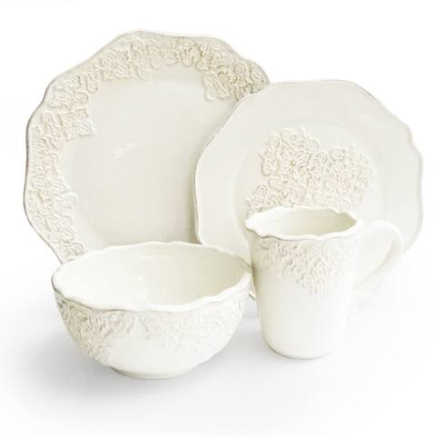 American Atelier Bianca Medallion White 16-piece Dinnerware Set