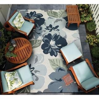 """Gelato Giardino Gray Indoor/Outdoor Area Rug - 4' x 5'10"""""""