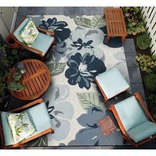 """Gelato Giardino Gray Indoor/Outdoor Area Rug - 5'3"""" x 7'6"""""""