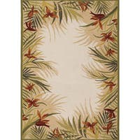 Couristan Covington Tropic Garden/ Sand Floral Indoor/Outdoor Area Rug - 5'6 x 8'