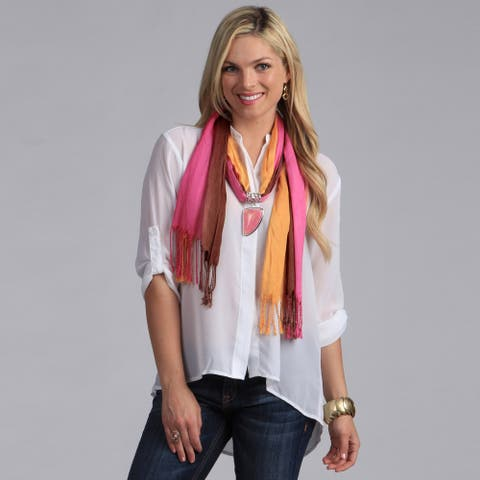 Peach Couture Pink Seashell Charm Pendant Scarf
