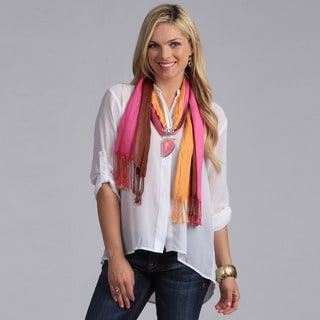 Link to Peach Couture  Pink Seashell Charm Pendant Scarf Similar Items in Scarves & Wraps
