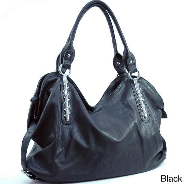Dasein Women's Chain Accented Hobo Handbag
