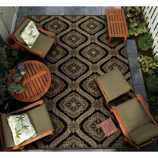 Couristan Dolce Napoli/Black-Gold Indoor/Outdoor Area Rug - 4' x 5'10