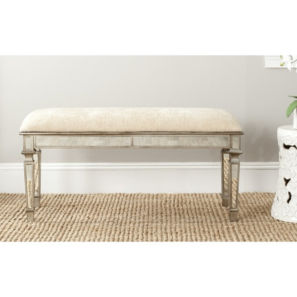 Safavieh Layla Beige Mirrored Bench Free Shipping Today 15216982
