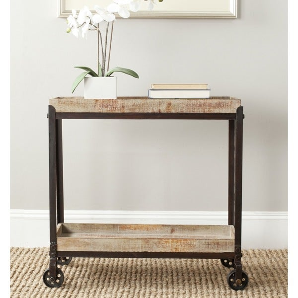 Perfect Safavieh Sally Natural Rolling Console Table