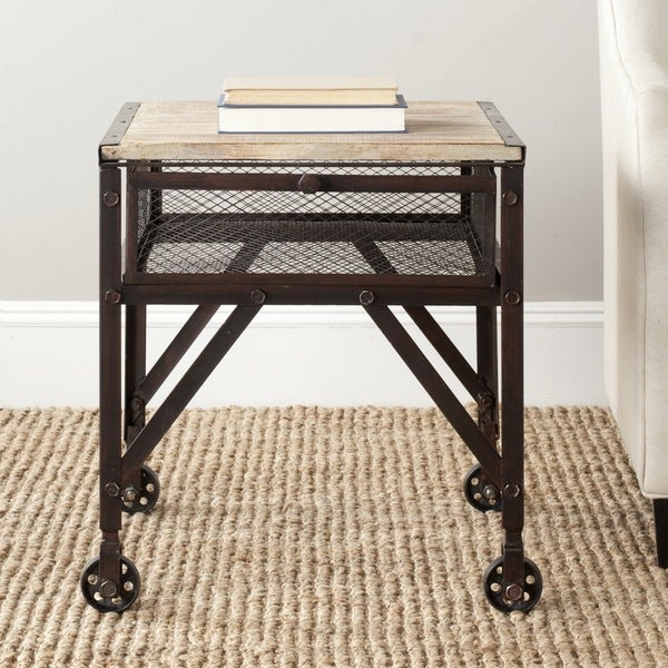 Superior Safavieh Linus Natural Rolling End Table