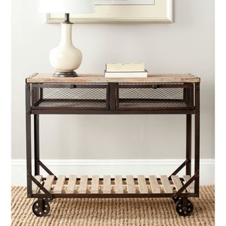 Safavieh Shroder Natural Rolling Console Table