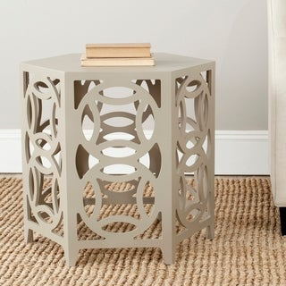 "Safavieh Natanya Pearl Taupe Side Table - 22.8"" x 22.8"" x 22.2"""