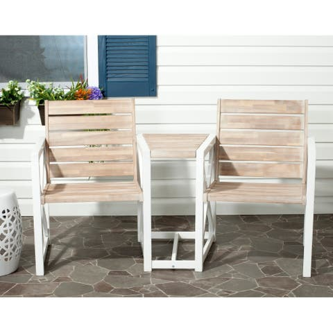"Safavieh Outdoor Jovanna White and Oak Bench - 61.8"" x 27.6"" x 33.5"""