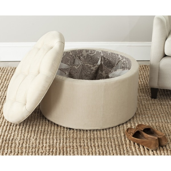 Shop Safavieh Tanisha Beige Shoe Storage Ottoman On Sale