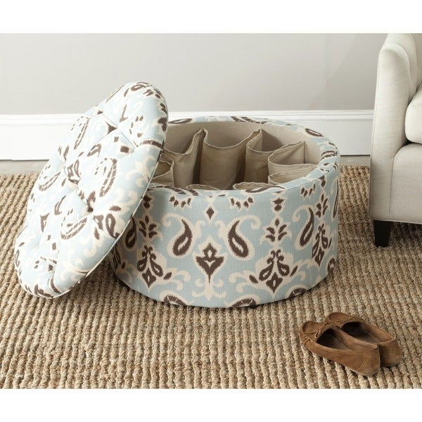 Shop Safavieh Tanisha Cyan Blue Shoe Storage Ottoman
