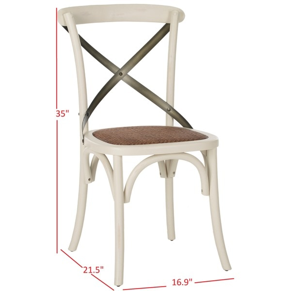 SAFAVIEH Eleanor X-Back Antique White Dining Chair (Set of 2)