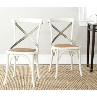 Link to Safavieh Eleanor X-Back Antique White Dining Chair (Set of 2) Similar Items in Dining Room & Bar Furniture