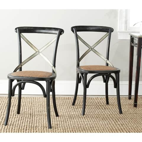 Safavieh Eleanor X-Back Black Dining Chair (Set of 2)