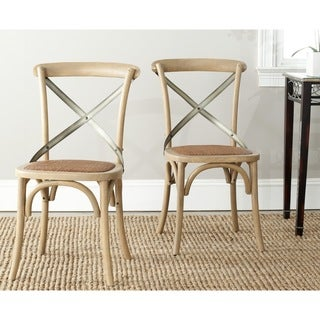 Link to Safavieh Eleanor X-back Weathered Oak Dining Chairs (Set of 2) Similar Items in Dining Room & Bar Furniture