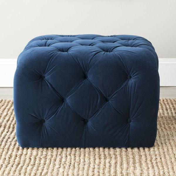 shop safavieh kenan navy blue ottoman free shipping today overstock 7827843. Black Bedroom Furniture Sets. Home Design Ideas