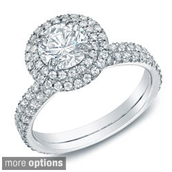 Auriya 14k Gold 1 3/4ct TDW Certified Diamond Halo Engagement Ring (H-I, SI1-SI2)