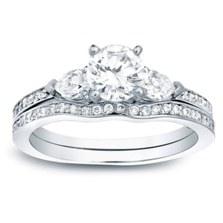 Auriya 14k Gold 1ct TDW Certified Diamond Bridal Set