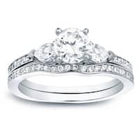 Auriya 14k Gold 1ct TDW Certified 3-Stone Diamond Engagement Ring Bridal Set