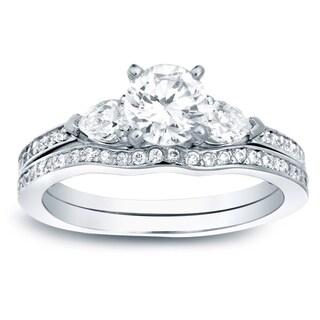 Auriya 14k Gold 1ct TDW Certified Diamond 3-Stone Engagement Ring Bridal Set